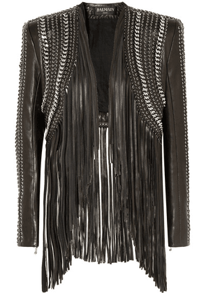 Balmain - Fringed Embellished Leather Jacket - Black