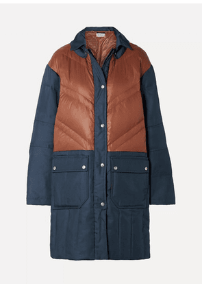By Malene Birger - Dorav Quilted Shell-paneled Canvas Down Coat - Navy