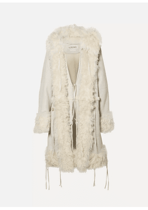 Loewe - Oversized Hooded Shearling Coat - Off-white