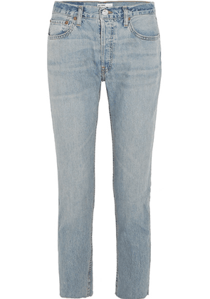 RE/DONE - Originals Relaxed Crop Frayed Slim Boyfriend Jeans - Light denim