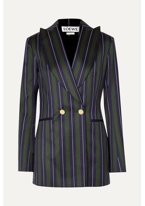 Loewe - Frayed Striped Wool And Cotton-blend Blazer - Navy