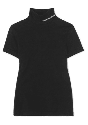 Vetements - Embroidered Cotton-jersey Turtleneck Top - Black
