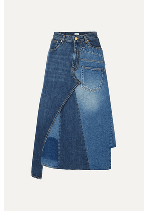 Loewe - Asymmetric Patchwork Denim Midi Skirt - Indigo