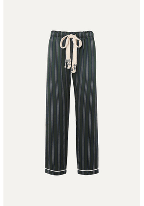 Loewe - Striped Silk-charmeuse Wide-leg Pants - Navy