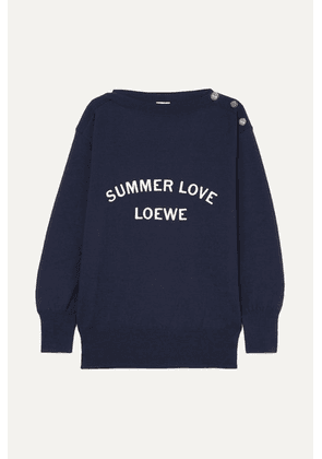 Loewe - Embroidered Wool-blend Sweater - Navy