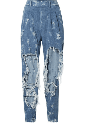 Balmain - Distressed High-rise Boyfriend Jeans - Blue