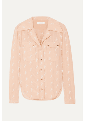 Chloé - Embroidered Silk Crepe De Chine Blouse - Pink
