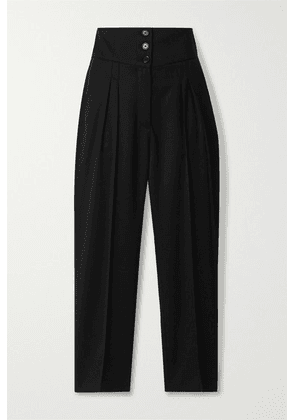 Nili Lotan - Reta Cropped Wool-blend Twill Straight-leg Pants - Black