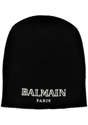 Balmain cashmere logo embroidered beanie - Black