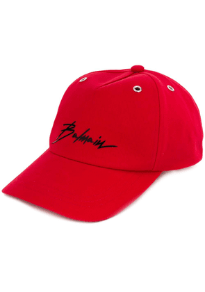 Balmain logo applique cap - Red