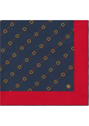 Gucci Scarf with Stirrups and Web print - Red