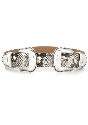 B-Low The Belt double buckled reptile pattern belt - White