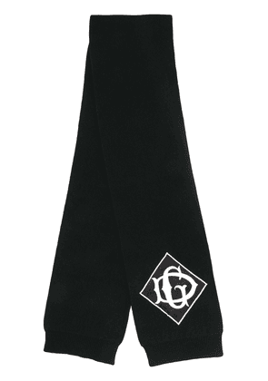 Dolce & Gabbana branded knitted scarf - Black