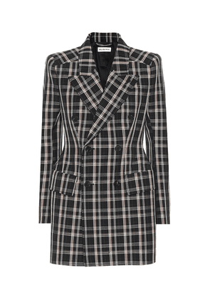 Hourglass checked wool blazer