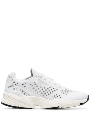 adidas white Falcon perforated leather sneakers