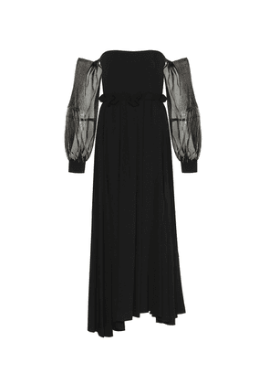 Wool-crêpe off-the-shoulder gown