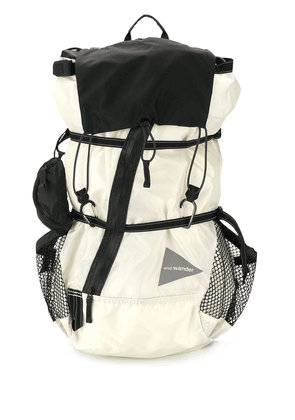 and Wander logo luggage backpack - White