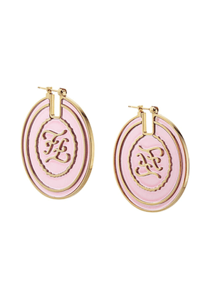Fendi FF Karligraphy motif round earrings - F0VPG-PINK+SOFT GOLD