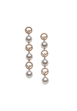 Fendi drop F motif earrings - F18A4-SOFT GOLD +WHITE +CR