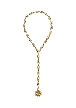 Gucci floral pendant GG chain necklace - GOLD