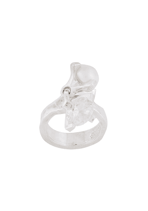 E.M. crystal and pearl ring - Metallic
