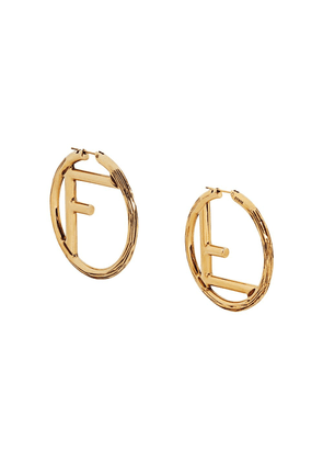 Fendi F Is Fendi large earrings - F192T-DARK BURATTATO GOLD
