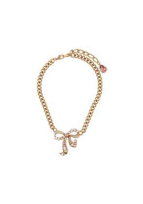 Dolce & Gabbana crystal-embellished bow necklace - GOLD