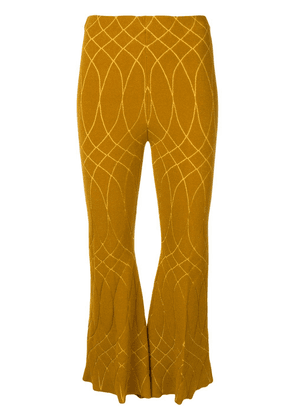 Circus Hotel geometric patterned flared trousers - Yellow