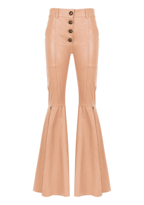 Andrea Bogosian panelled leather trousers - NEUTRALS