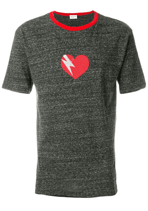 Saint Laurent heart print T-shirt - Grey