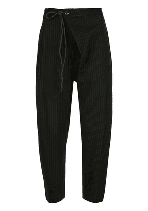 Attachment pinstriped tapered trousers - Black