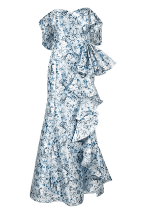 Badgley Mischka off-the-shoulder ruffle gown - Blue