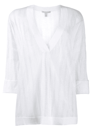 Autumn Cashmere striped knitted top - White