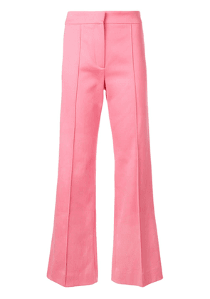 Derek Lam Cropped Flare Cotton Twill Jean Trouser with Pintuck Details