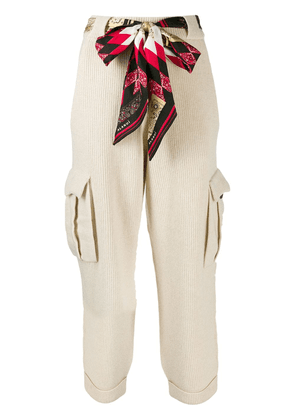 Alanui belted knit trousers - NEUTRALS