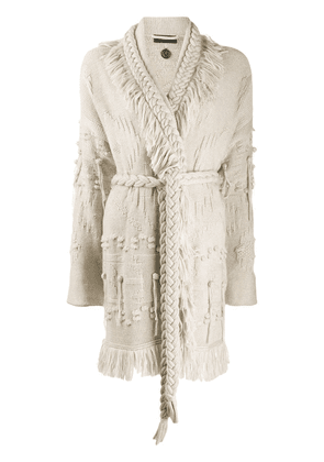 Alanui fringed jacquard-knitted cardigan - NEUTRALS