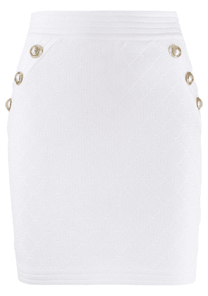 Balmain double-breasted fitted skirt - White