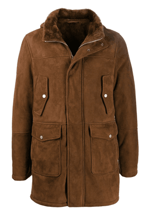 Eleventy hooded leather coat - Brown
