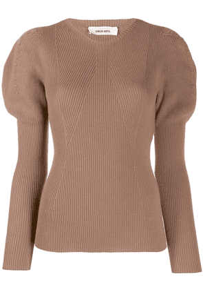 Circus Hotel v-neck ribbed knit jumper - Brown