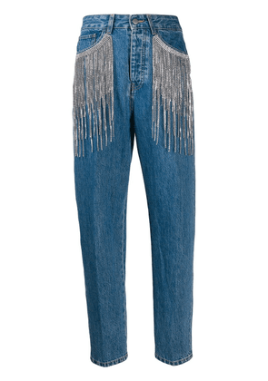 Circus Hotel fringed straight fit jeans - Blue