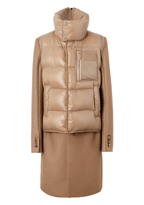 Burberry Down-filled Gilet Detail Camel Hair Tailored Coat - Brown