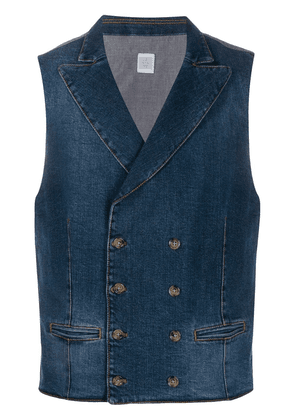 Eleventy double breasted denim vest - Blue