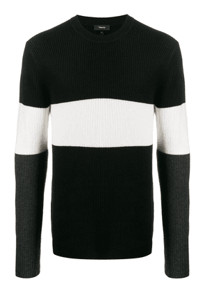 Theory ribbed panelled jumper - Black