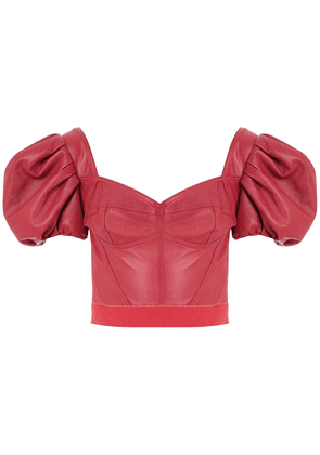 Andrea Bogosian Pantoja leather cropped top - Red