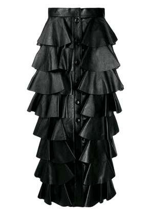 Saint Laurent long tiered ruffle skirt - Black