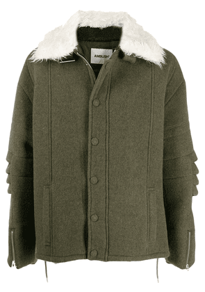 AMBUSH textured collar coat - Green