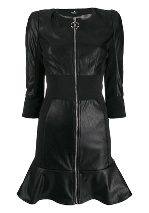 Elisabetta Franchi faux-leather zip-up dress - Black