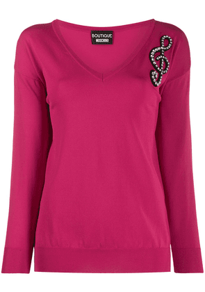 Boutique Moschino embellished music note jumper - PINK