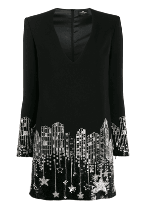 Elisabetta Franchi cityscape mini dress - Black