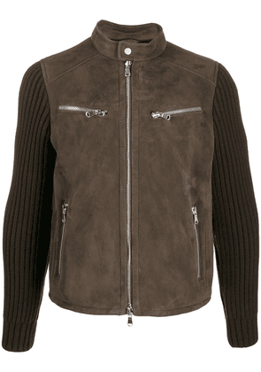 Al Duca D'Aosta 1902 knitted sleeves leather jacket - Brown